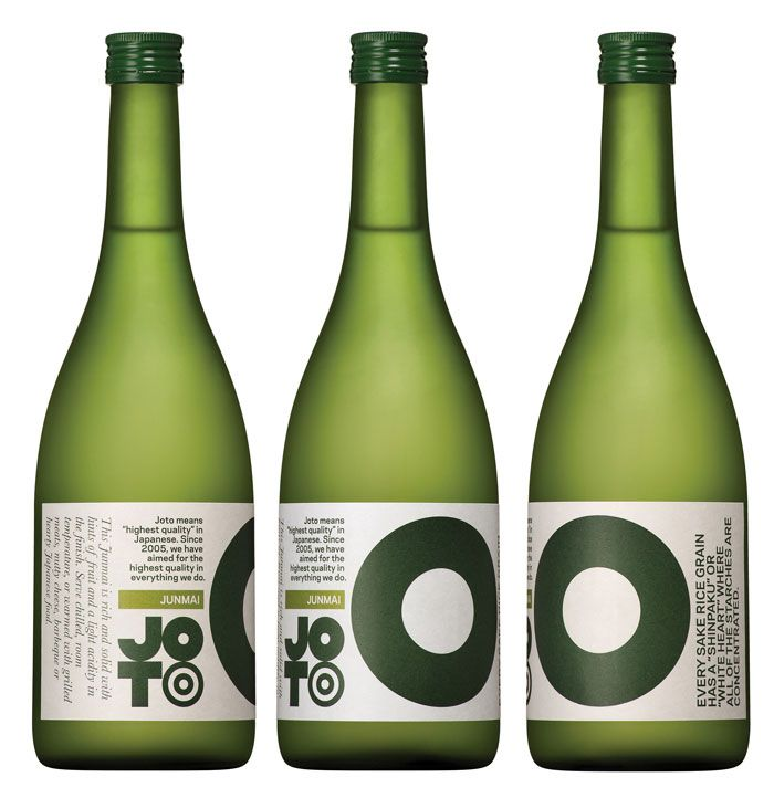 """To Western consumers, traditional Japanese sake labelling is indecipherable and largely indistinguishable. Joto's packaging opts for bold colour and infographics describing each sake's brewing process and tasting notes. The logo developed for the company was inspired by the geometrical minimalism of Japanese design, but contains a visual delight for the sake aficionado."" #japanese #package #design"