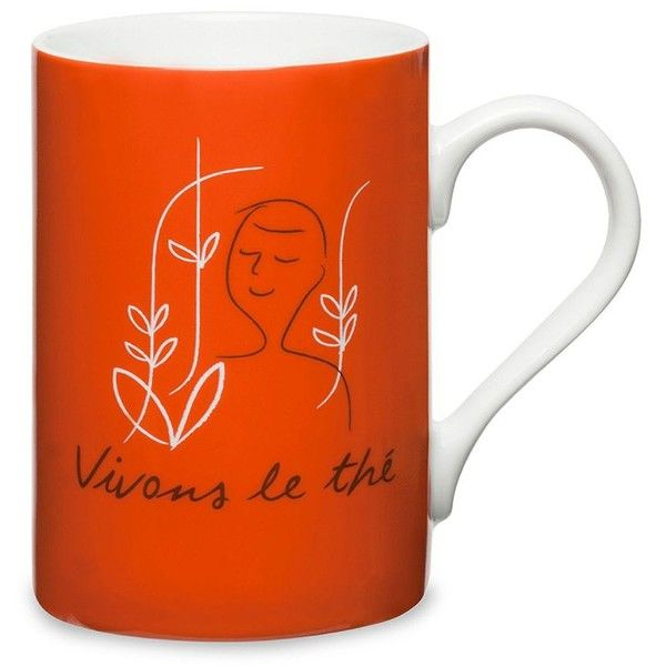 Palais des Thes Vivons Le Thé Mug featuring polyvore, home, kitchen & dining, drinkware, red mug, porcelain mugs, quote mugs and coloured mugs