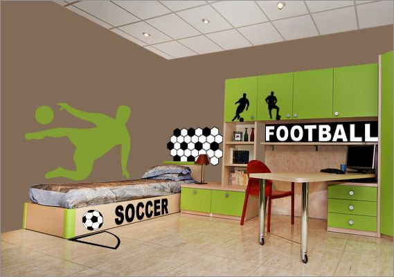 Sticker football sticker foot joueur 2 decorecebo - Stickers muraux chambre garcon ...