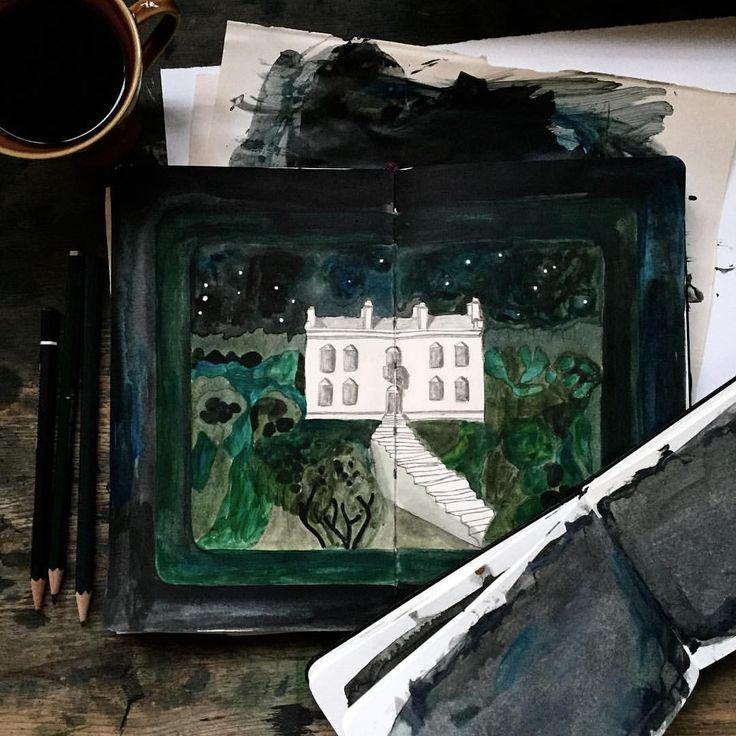 sketchbooks and coffee | green garden under the starry sky #acryliconpaper #sketchbook #ohbecourageous #camillaknutsenart