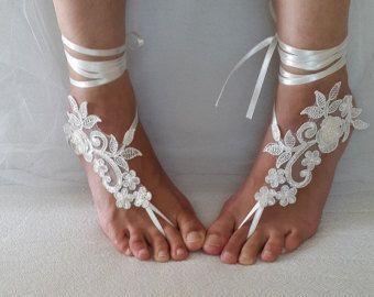 Düğün ayakkabıları plaj ayakkabıları yaz ayakkabıları gelin aksesuarları fildişi dantel düğün sandalet ayakkabıları ücretsiz gönderim!  Gelin sandaletleri gelinler #jewelry