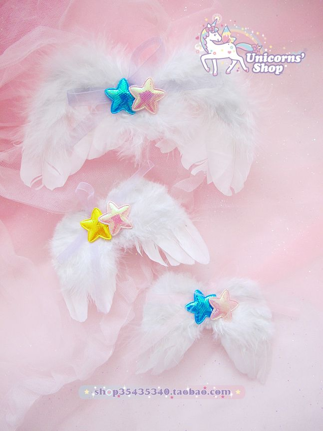[Soft] Japanese girl spank nile PERCH ☆ Star angel wings bow hairpin side folder - Taobao