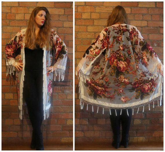 Kimono Fringe Devore Long Velvet Jacket Boho Vintage #floral #beaded #boho #vintage #kimono #velvet