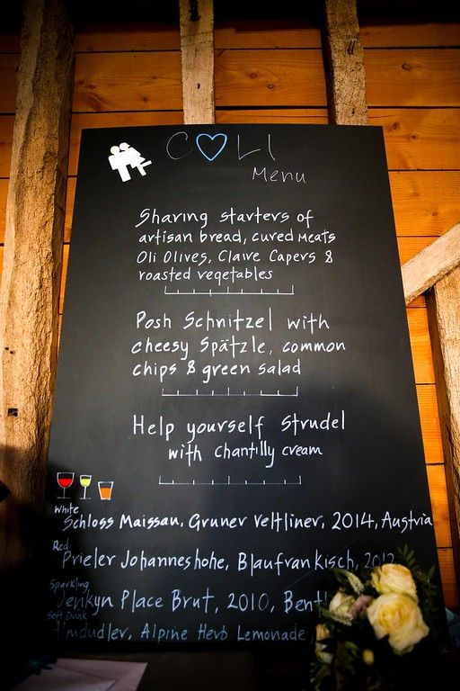 Chalkboard menu from Claire & Oli's Austrian themed wedding SMP Weddings: Sussex based female wedding photographer. Photojournalist creating highly atmospheric images which burst with personality and emotion