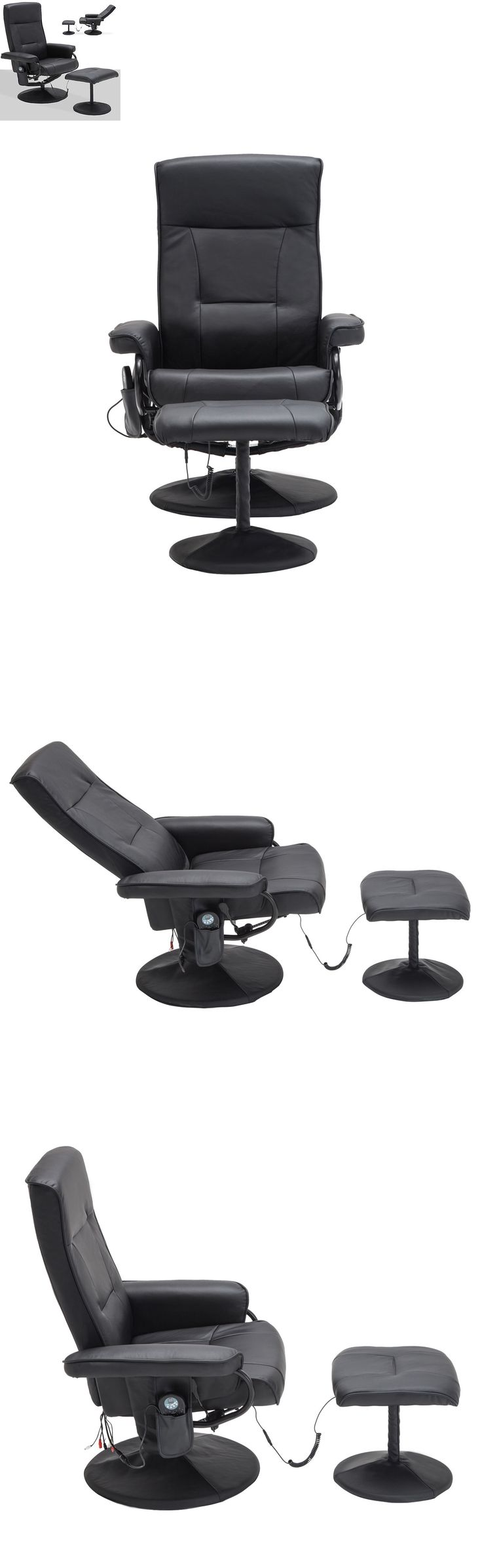 Electric Massage Chairs: Massage Leisure Recliner Swivel Chair 8 Motor Leather W/ Ottoman Footstool Black BUY IT NOW ONLY: $138.9