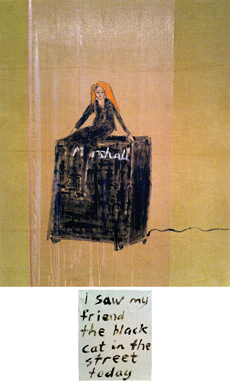 Self Portrait on a Marshall Amp, by Jenny Watson /// Anna Schwartz Gallery 22 Mar-5 May 2012 /// This painting quietly screamed at me.