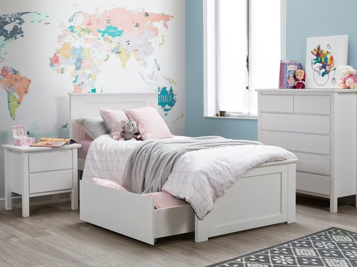 White single bedroom suite with storage | Furniture, Twin ...
