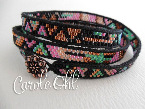 One-Drop Peyote Pattern Design.  Materials needed: size 11 Delica beads, 5 colors Size 11 beading needle Beading thread to match cord 1mm cotton waxed cord