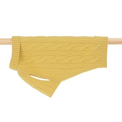 Cable Cashmere Dog Pullover Mustard 20cm