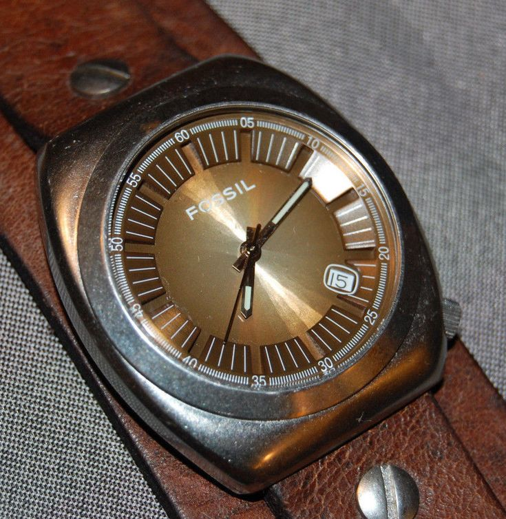 Fossil Men's Wide Brown Leather Band Watch Brown Dial NEW BATTERY/MECHANISM!  | eBay