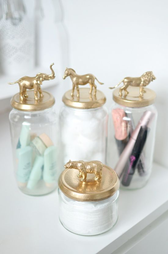 Easy DIY Post to make these cute Gold Animal Jars. All the steps. Perfect for your dressing table.