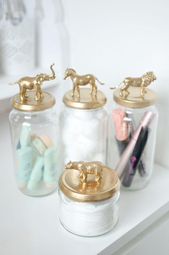 gold animal jar diy