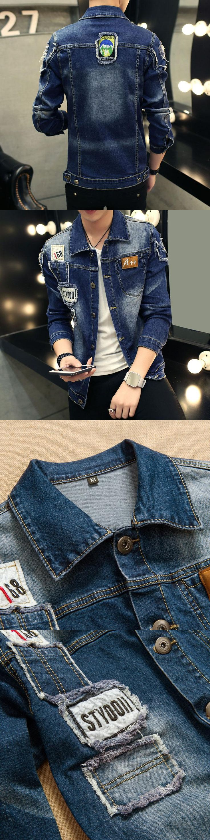 2017 spring new Top Quality Denim Jackets Men Hip Hop Clothing long sleeve Street wear Jeans Jackets Free shipping