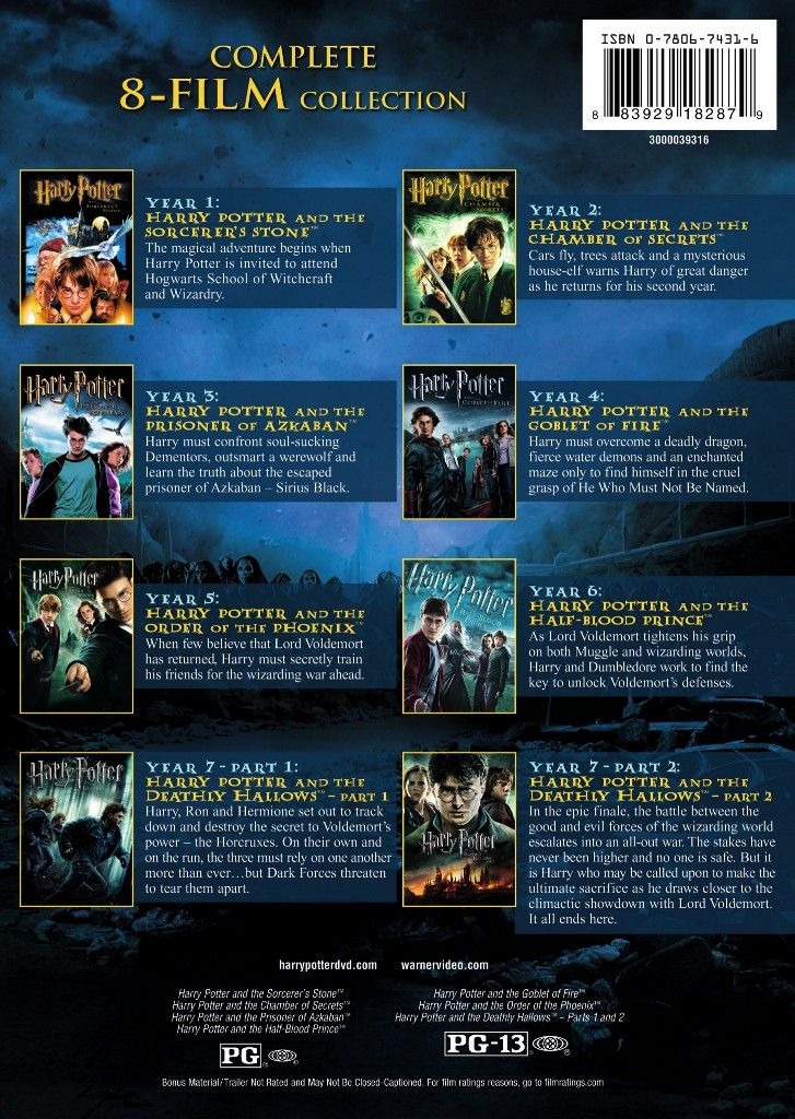 Harry Potter The Complete 8 Film Collection Harry Potter Movie Night Harry Potter Films Harry Potter Movie Posters