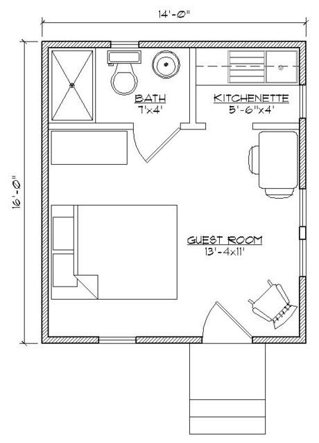 Guest Suite (instead of kitchenette, use that space for a desk and/or reading nook - arm chair, table, lamp)