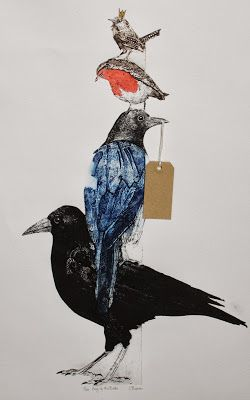Sue Brown Printmaker: KING OF THE BIRDS, COLLAGRAPH. --- this is amazing, love the effect that collograph produces, mine never look this exquisite!