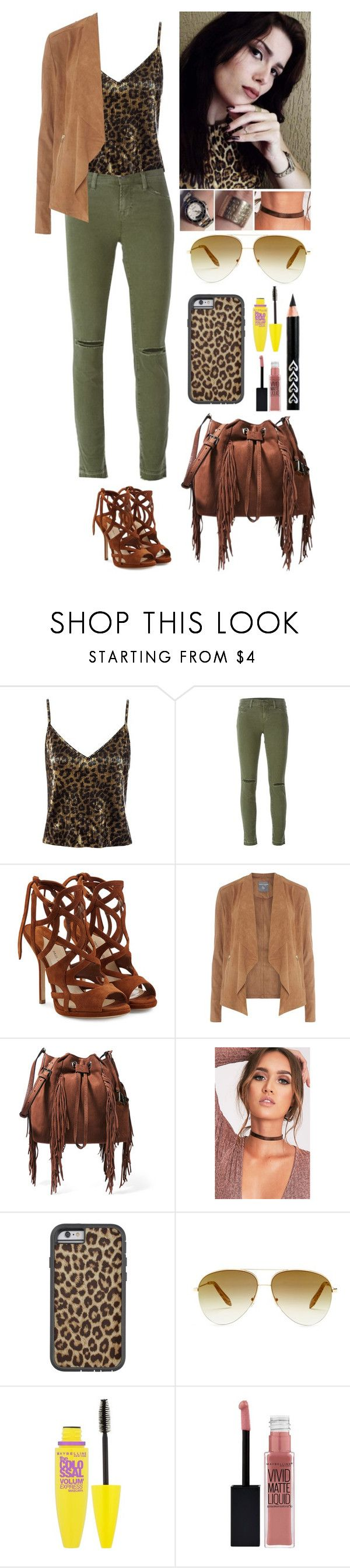 """Leopard Print + Brown and Green."" by annacastrolima ❤ liked on Polyvore featuring Sans Souci, J Brand, Paul Andrew, Dorothy Perkins, Maybelline, Diane Von Furstenberg, Victoria Beckham, chic, LeopardPrint and brownandgreen"