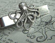 Zilveren Octopus mannen stropdas Clip nautische Steampunk stijl gotische Victoriaanse Vintage Inspired mannen stropdas Bars mannen accessoires mannen geschenken nieuw