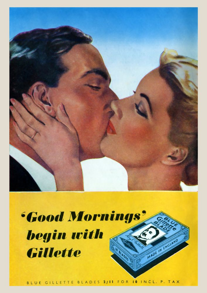 poster Wall art Reproduction. Gillette good morning  : Vintage Razor blade ad