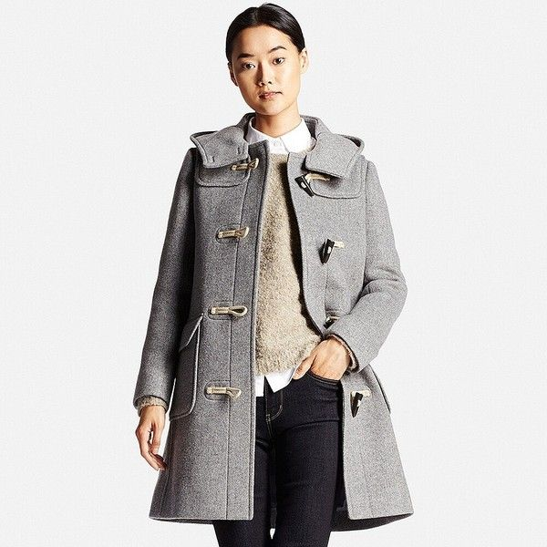 UNIQLO Wool Blend Duffle Coat featuring polyvore, women's fashion, clothing, outerwear, coats, insulated coat, white toggle coat, uniqlo, knee length coat and toggle coats