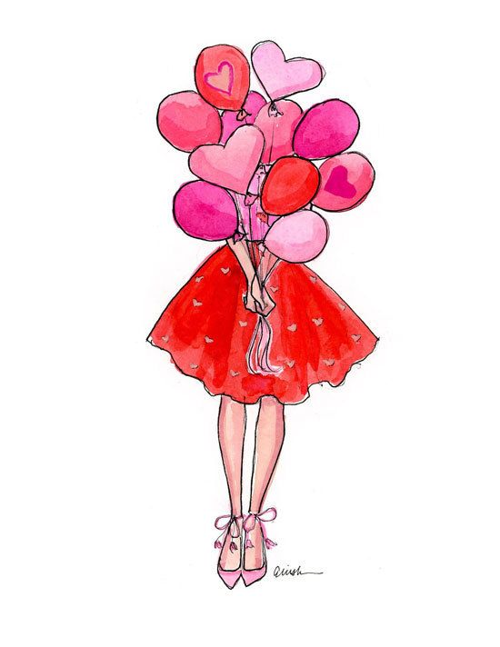 Art Print Fashion Illustration: Be Mine with Balloons