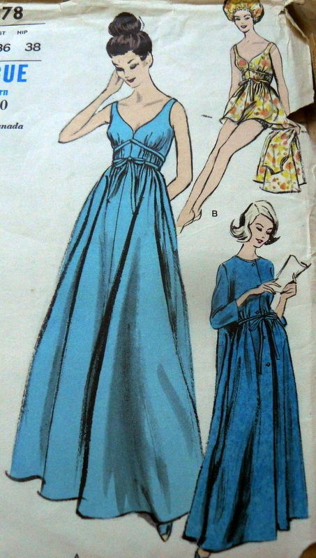 LOVELY VTG 1960s NIGHTGOWN PEIGNOIR CAP & PANTIES VOGUE Sewing Pattern 16/36