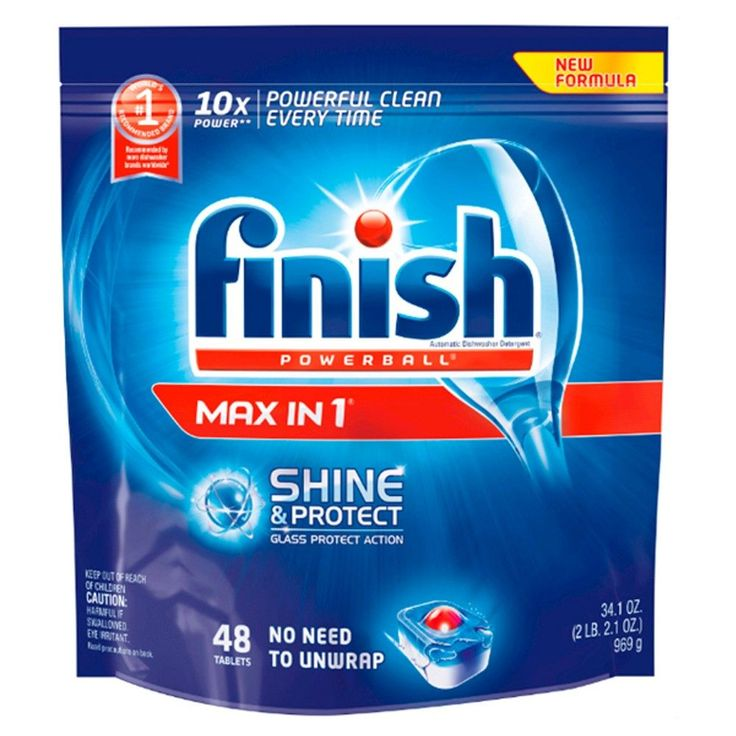 Finish Powerball Tabs Automatic Dishwasher Detergent, Shine & Protect Max in 1, 48 Count