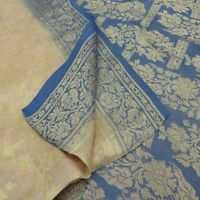 Vintage Indian Clothing Fabric Saree Beige Woven Pure Silk Wrap Used Sari 5YD
