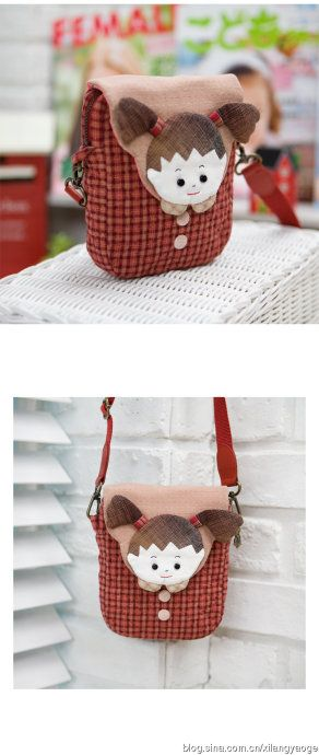 [Emma] Korean online hand-made little boy and girl drawing oblique backpack