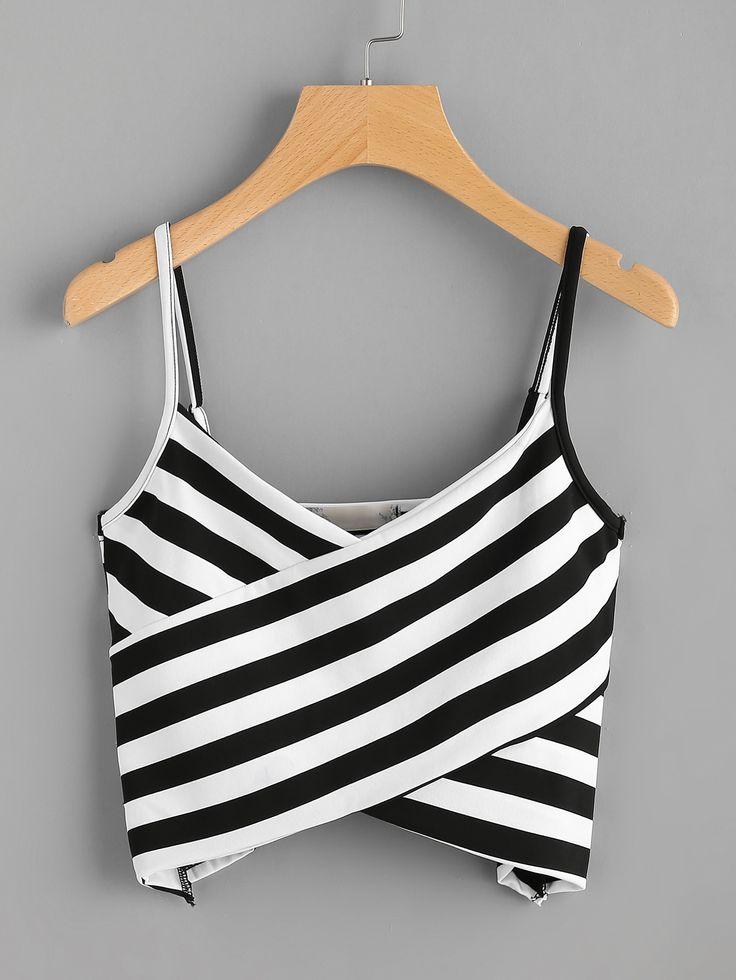 Striped Twist Front Crop Cami Top