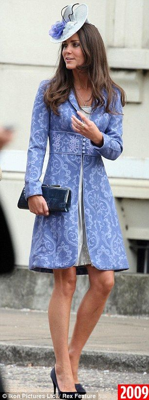 Something blue: The Duchess of Cambridge at St George's Chapel, Windsor for His Royal Highness, The Duke of Edinburgh's 90th Birthday service yesterday, and, right, wearing the same coat dress in 2009