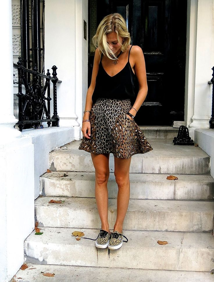 animal print skirt & sneakers.