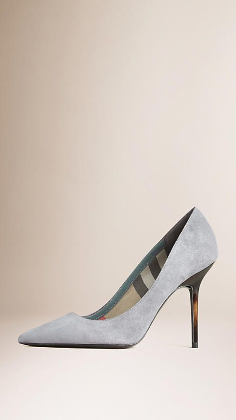 Storm grey Point-Toe Suede Pumps - Image 1