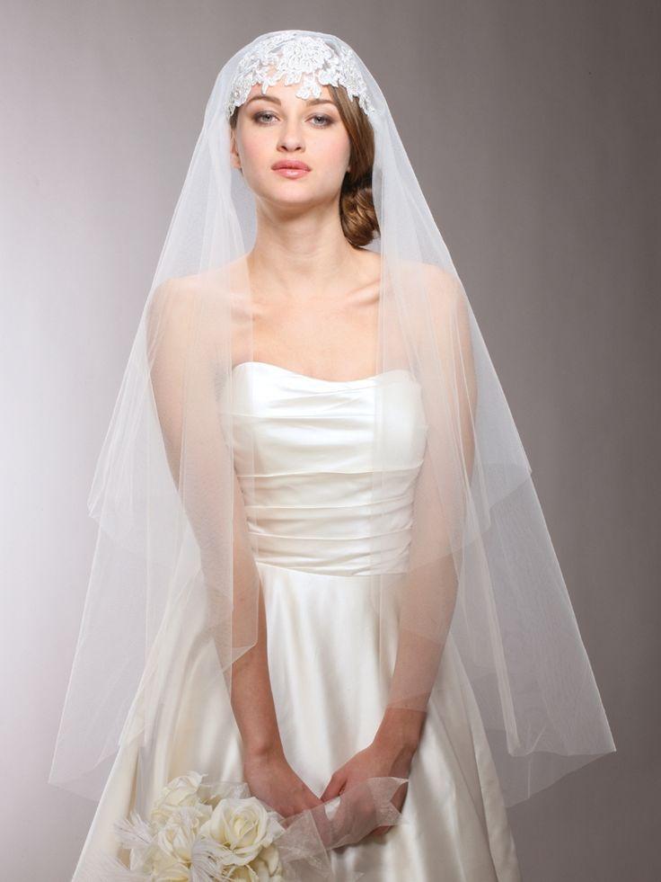 Mariell Beaded Applique Juliet Cap Wedding Veil 3921V - gorgeous! affordableelegancebridal.com