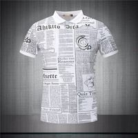 New 2015 Spring&Summer Man Good quality Letter print Casual style Turn-down Collar short sleeve Business man's T-shirt JG8604