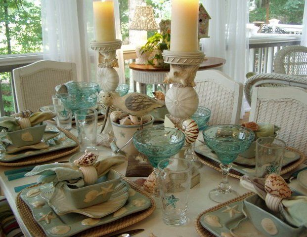 What represents summer better than the beach? Here is a fun beach themed tablescape idea