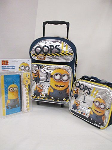 Despicable Me 2 Minions Large 16 Rolling Backpack Book Bag Lunch Box & Back To School Stationery Se @ niftywarehouse.com #NiftyWarehouse #Minions #DespicableMe #Minion #Movie #Movies #Kids