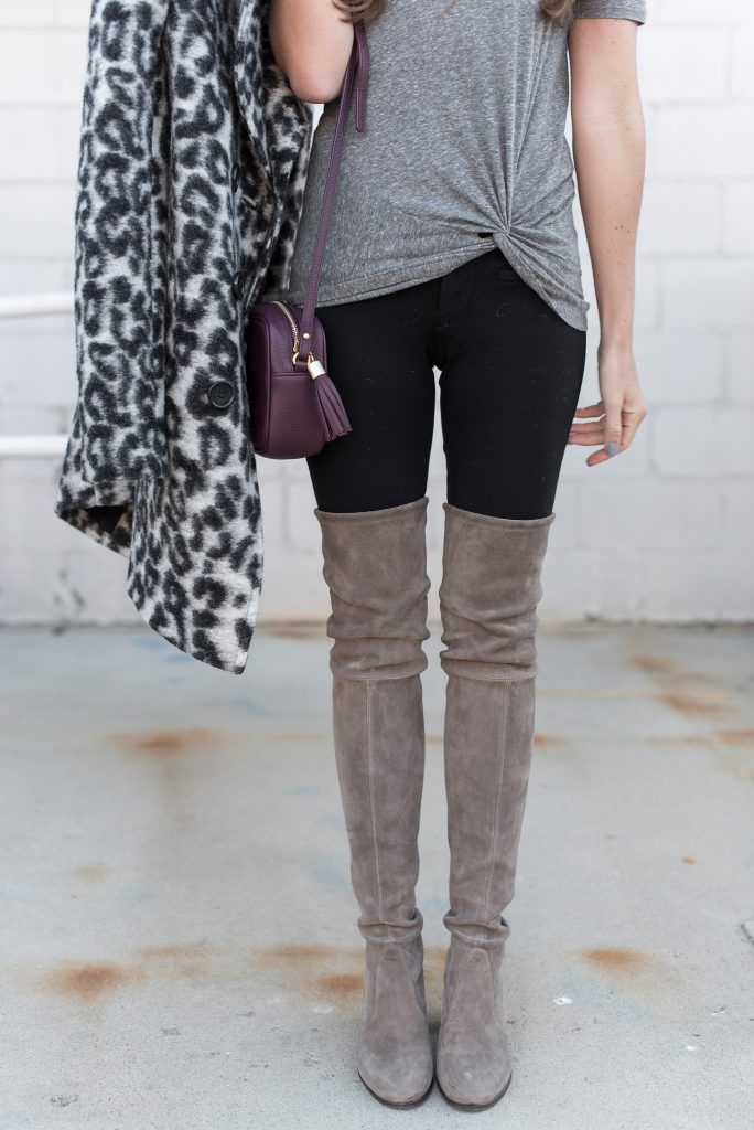 Rebecca Minkoff Leopard Coat | Paige Skinny Denim | Enzo Costa Grey Knot Tee | Stuart Weitzman Over-the-Knee Boots