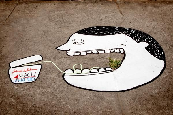 "Reach Dental Floss: ""Grass at sidewalks, 1"" Ambient Advert  by JWT and Agencia Casa"