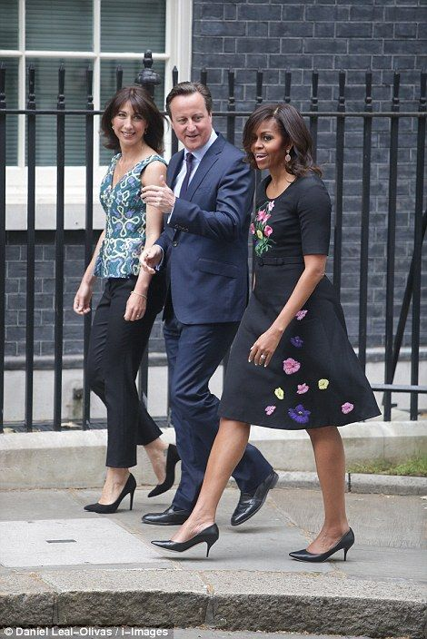 First Lady Michelle Obama with David Cameron and his wife.   The First Lady will enjoy another round of tea with the couple this afternoon