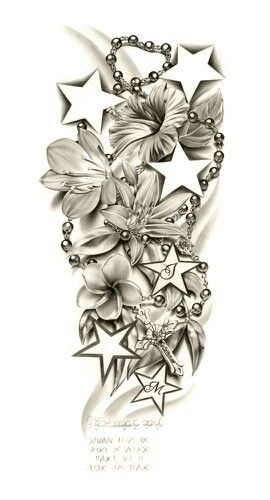 Like the flowers, possibly place a cross, and girls intials in the stars. Tat would be a little smaller