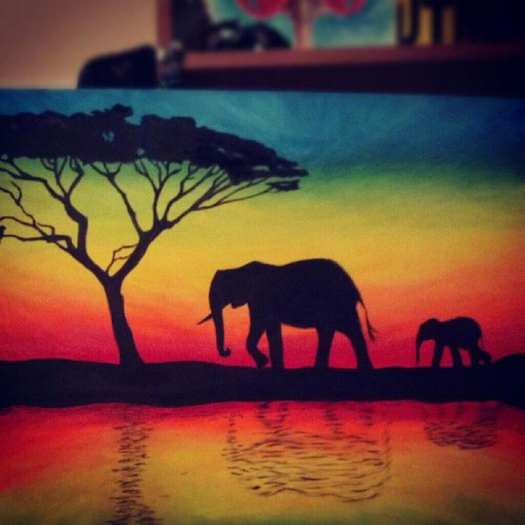 elephant+paintings | Elephant Silhouette by tylertiger