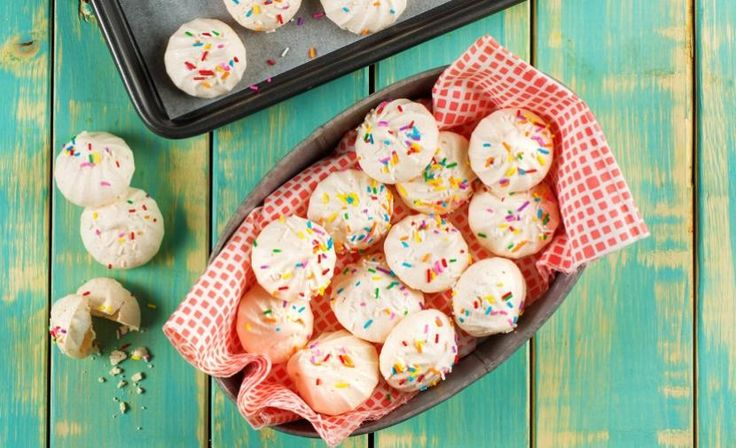 These meringue clouds make a light and delicious dessert. Top with sprinkles for the kids or candy cane pieces during the holidays as a festive treat for family and friends.