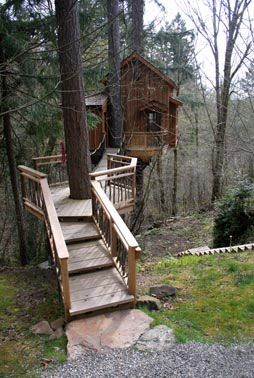 """South Puget Sound, Washington Winter 2007 This large treehouse is perched over a wild ravine. A retreat for kids and adults alike, this treehouse has a large deck, a living room, dining table, plumbed sink, and, upstairs, a bunk room for the boys."""