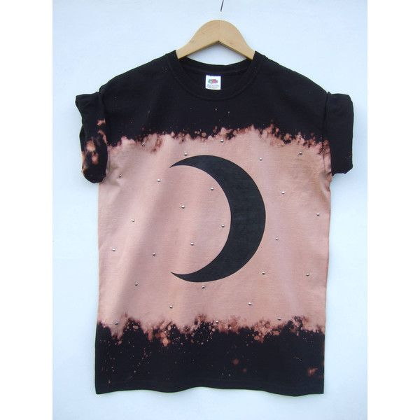 Moon Print Grunge Bleached Shirt With Silver Studs, Tumblr Hipster Emo... ($31) ❤ liked on Polyvore featuring tops, t-shirts, hipster t shirts, grunge t shirts, t shirts, print shirts and hand printed t shirts