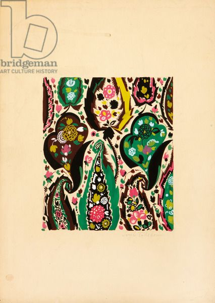 Textile design with flowers and leaves, (gouache on paper) Chekhonin, Sergei Vasil'evich (1878-1936)