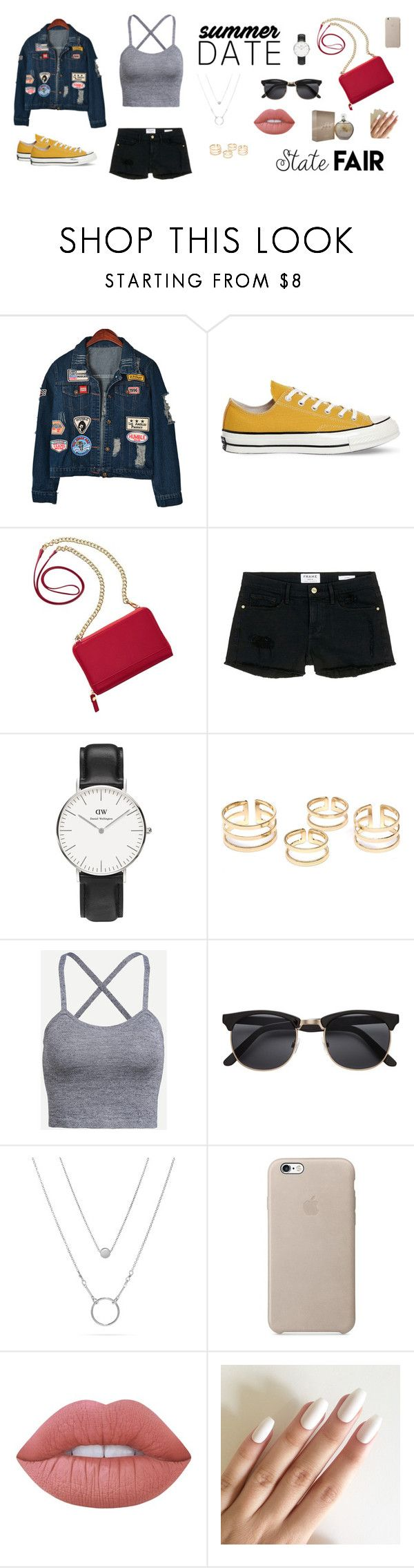 """Summer Date, Sate Fair// Cita en el verano, feria estatal."" by smmtmd on Polyvore featuring moda, Chicnova Fashion, Converse, TravelSmith, Frame Denim, Daniel Wellington, Lime Crime, Jennifer Lopez, statefair y summerdate"