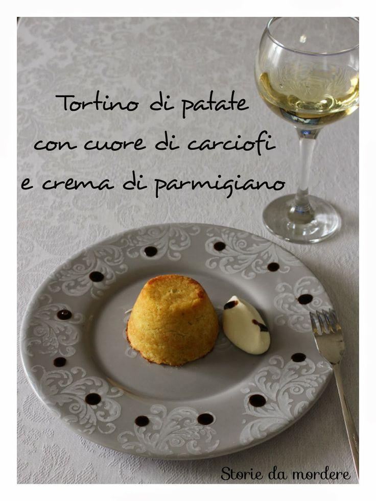 Tortino di patate con cuore di carciofi e crema di parmigiano