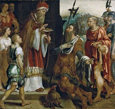 Hebrews 7:1 For this Melchisedec, king of Salem, priest of the most high God, who met Abraham returning from the slaughter of the kings, and blessed him;  (Gen. 14:18-20; Ps. 110:4; Heb. 5:10; 6:20; 7:3, 17, 21, 23-28)