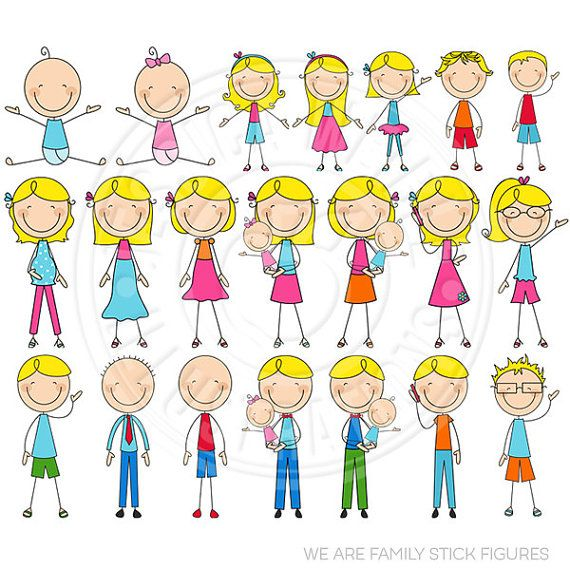 BLONDE We Are Family Stick Figures Cute Digital Clip Art - Commercial Use OK - Stick Figure Family Graphics
